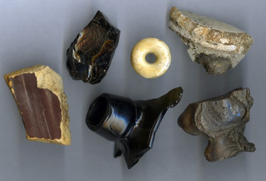 Various artifacts recovered from within the sewer rubble.
