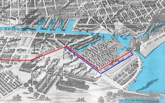 Late 1880s representation of Montreal superimposed with the paths of the Point St. Charles Collector.