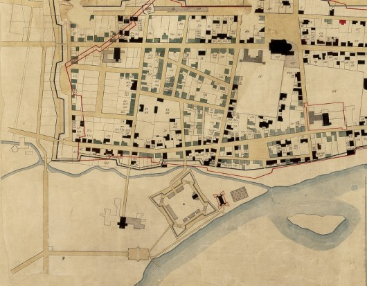At the mouth of Riviere St. Pierre during the early stages of Montreal in 1700.
