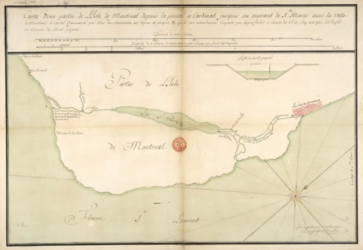 Rivière (and Lac) St-Pierre shown with proposed alterations, 1739.