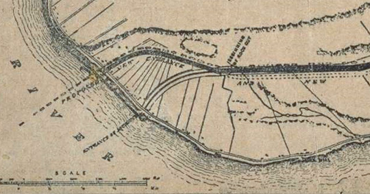 1911 map showing the old and new entrance points to the aqueduct. The bottom entrance was later filled in during the 1920s.